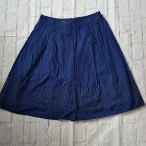 Talbots Eyelet Embroidered Pleated A-Line Skirt